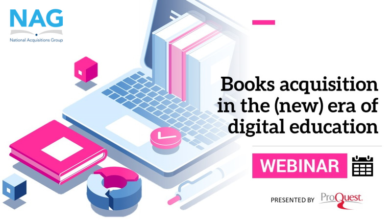 """Picture of laptop with books coming through screen, text: """"books acquisition in the (new) era of digital education"""" presented by ProQuest"""
