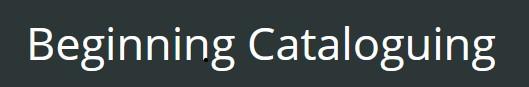 Beginning Cataloguing